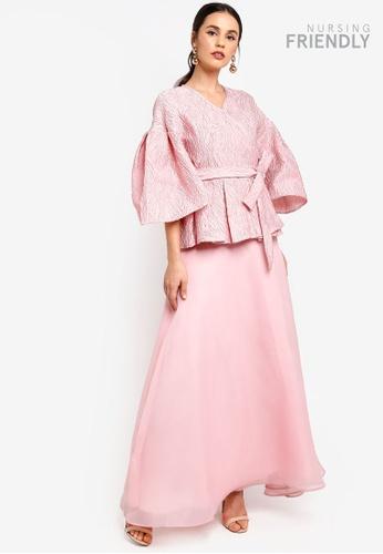 Zalia pink Flounce Sleeve Kurung With Full Skirt A4460AA6628EE4GS_1