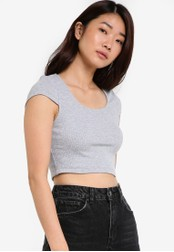 ZALORA grey Basic Cropped Top with Cap Sleeves DF3A3AAC6B80D4GS_1