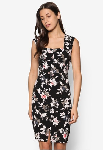 Collection 印花前開叉及膝洋裝、 服飾、 洋裝ZALORACollection印花前開叉及膝洋裝最新折價