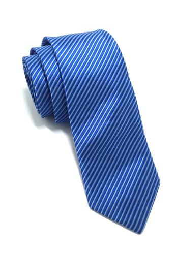 Splice Cufflinks Regalia Series Bright Blue Stripes Polyester Fabric Tie SP744AC55QNOSG_1