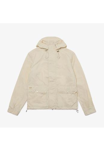 Lacoste white Men's Hooded Ultra-Lightweight Zip Parka 3BE4AAA6103EDEGS_1