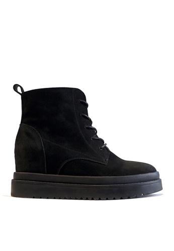 Twenty Eight Shoes black Leather Hidden Heel Platform Mid Boots VB991 5E3C6SHD5D458FGS_1
