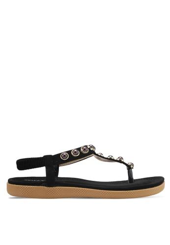 Spiffy black Pearl T-Strap Sandals SP352SH0SRX2MY_1