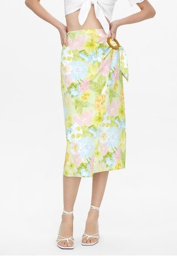 Pomelo green Floral Side Buckle Skirt - Green C19B7AAFB881C1GS_1