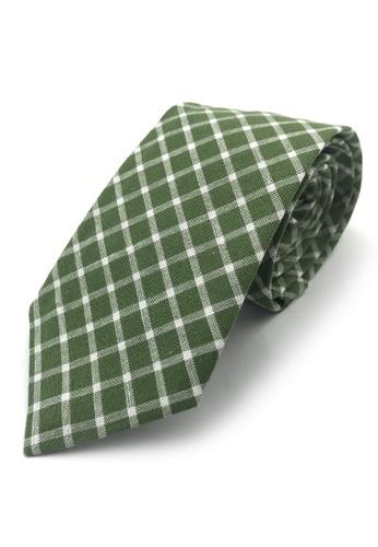 Caveman green Green Checks Necktie 9BD6AACD235E9BGS_1