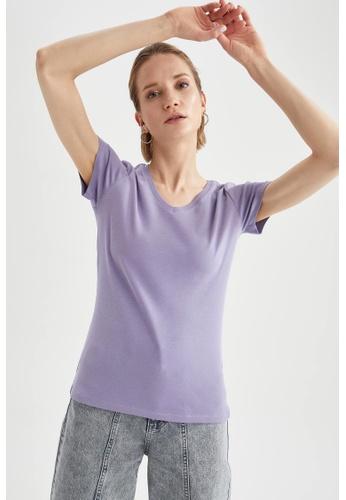 DeFacto purple Short Sleeve V-Neck Cotton T-Shirt 24992AAD4F18D3GS_1