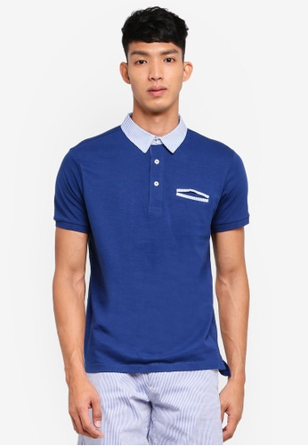 OVS 藍色 短袖撞色POLO衫 5F053AA6812EE4GS_1