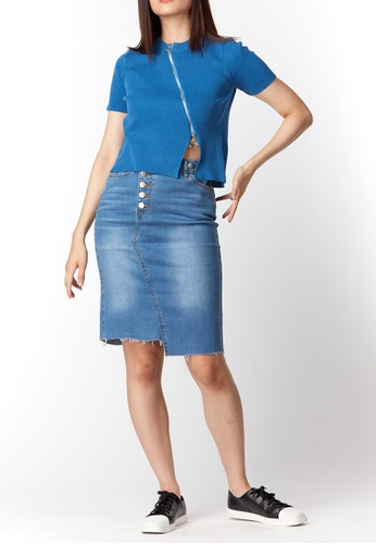 What To Wear blue High Waist Wrapped Denim Skirt in Blue 7E6DCAA4007B83GS_1