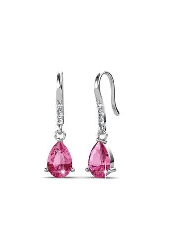 Her Jewellery pink Swarovski® Crystals - Dew Drop Earrings (Pink) - (18K White Gold Plated) Her Jewellery HE581AC0REN9MY_1
