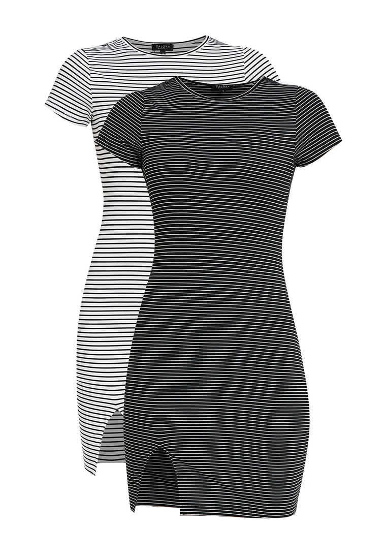 Black with Black White Dress BASICS ZALORA Bodycon Basic Stripe pack 2 Short Stripe White Sleeves AwM87HHq