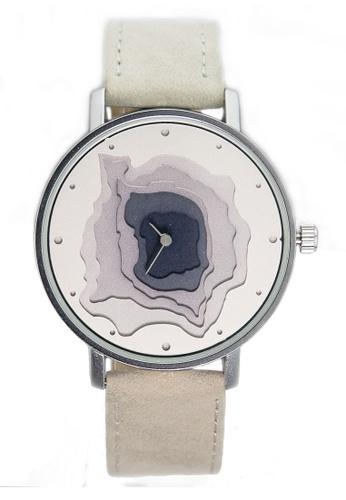 Chronomart silver Nafisa Women's Round 3D Dial Analog Leather Strap Watch CH783AC21KIOPH_1
