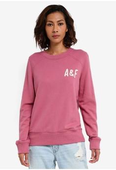 Abercrombie & Fitch red Sunfade Tech Logo Crew Sweatshirt 98161AA1128387GS_1