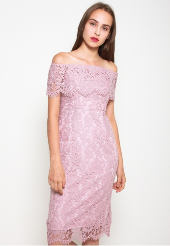 Leline Style pink Janiya Offshoulder Lace Dress FA794AAD064509GS_1