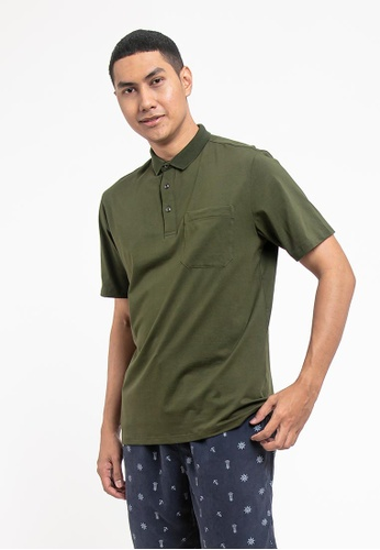 FOREST green Forest Cotton Spandex Regular Fit Polo Tee with Pocket - 23620 - Dk Olive CDBBDAA35F81D8GS_1