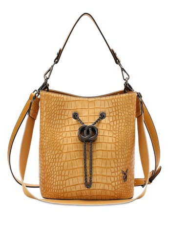 PLAYBOY BUNNY yellow Croc Effect Top Handle Slouch Sling Bag 47168AC60015F7GS_1