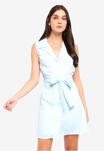 ZALORA 藍色 綁帶襯衫洋裝 FF172AACD167A5GS_1