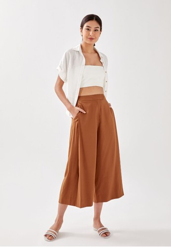 Love, Bonito brown Ailay Pleated Culottes CFB41AA6DEF848GS_1