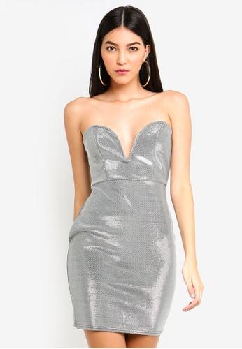 MISSGUIDED 銀色 金屬感平口緊身洋裝 B656EAADC7E1C3GS_1