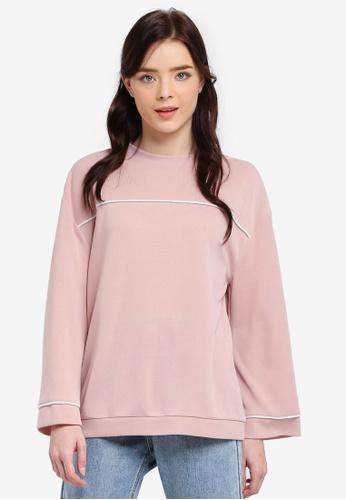 Zalia pink Contrast Piping Sweater 572CFAA3DF768CGS_1