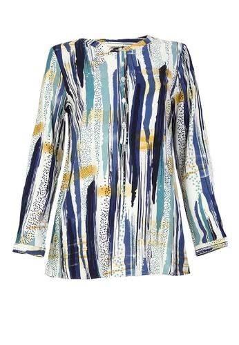 POPLOOK blue Gracelyn Henley Blouse AC5F7AA7694761GS_1
