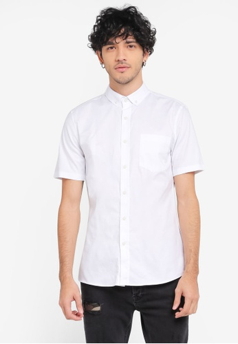 Topman white Short Sleeve White Muscle Oxford Shirt TO413AA0SR9HMY_1