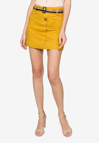 Hopeshow yellow Flare Cuff Skorts with Belt 56ECBAAADF472DGS_1