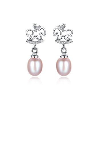 Glamorousky white 925 Sterling Silver Fashion Creative Trojan Purple Freshwater Pearl Earrings In with Cubic Zirconia 8B4CEACFBA919BGS_1