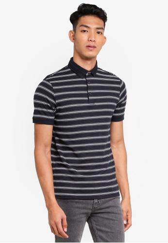 Burton Menswear London navy Navy Textured Strip Polo Shirt B4F33AA751A49AGS_1