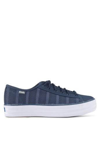 Keds blue Triple Kickstart Striped Air Mesh Sneakers KE942SH0STEJMY_1