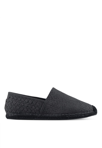 ZALORA black Faux Leather Espadrilles with Weaving Details 98407SH070E650GS_1