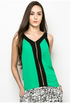 Sequined Det Sleeveless Top