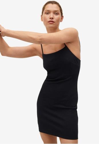 Mango black Fitted Textured Dress 53483AAC45F5F0GS_1