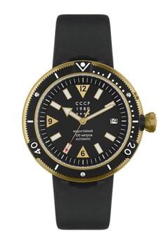 CCCP 男仕黑色真皮皮革腕錶 - CP-7027-03
