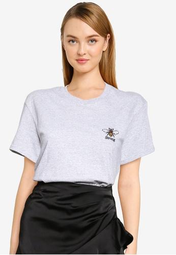 Miss Selfridge grey Grey Bee Strong Crop Tee 1ACE1AA004ED77GS_1