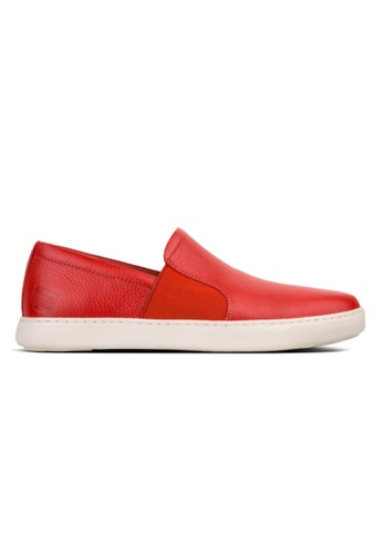 FitFlop red Fitflop Men Collins Leather Slip-On Skate Shoes Raw Clay E8C05SH00B8654GS_1