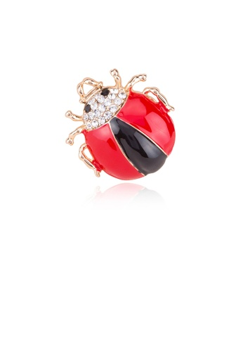 Glamorousky white Fashion Personality Plated Gold Ladybug Brooch with Cubic Zirconia EB9E9AC48D081CGS_1