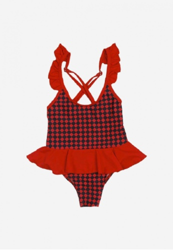 Mommy Hugs black and red Checkered One Piece Swimsuit 5E960KA7425DA0GS_1