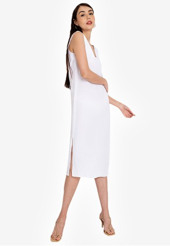 Origin by Zalora white Column Midi Dress made from TENCEL™ 2F18BAA8D87FF8GS_1