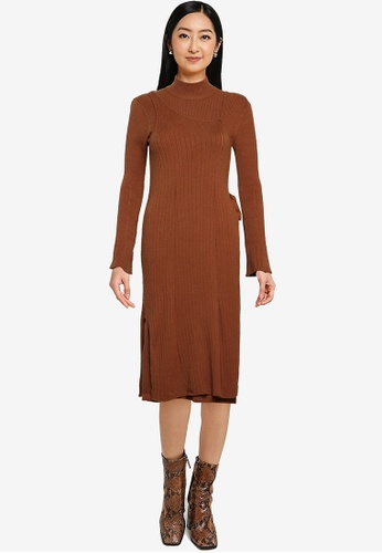 Heather brown Knitted Tie Midi Dress E5278AA73776A3GS_1