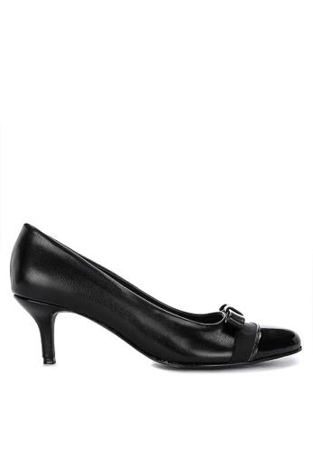 Janylin black Kitten Heel Pumps With Ribbon Detail C1370SH750758DGS_1