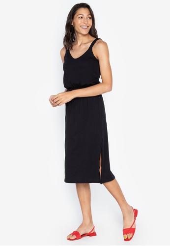 DEBENHAMS black Red Herring - Black Plaited Shoulder Knee Length Shift Dress 89502AA1E83782GS_1