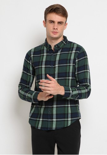 TIRAJEANS green Checks Shirt Brush CC29DAA58E17EEGS_1