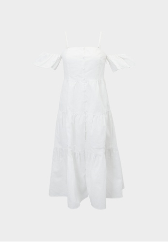 Pomelo white Cold Shoulder Ruffle Buttoned Dress - White 74123AA203A3B7GS_1