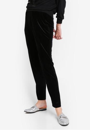 Zalia black Velour Drawstring Pants 35FEDAA11F1904GS_1