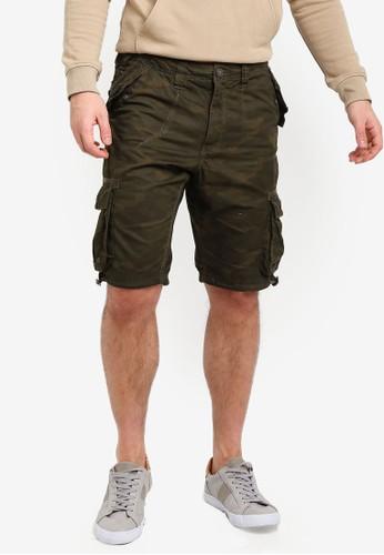 Brave Soul green Camo Print Twill Shorts BBDCBAA14018F6GS_1