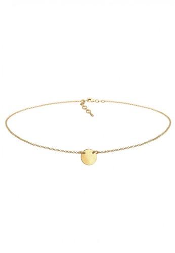 Elli Germany gold Perhiasan Wanita Perak Asli - Silver Kalung Choker Circle Plate Gold Plated EL948AC60EEDID_1