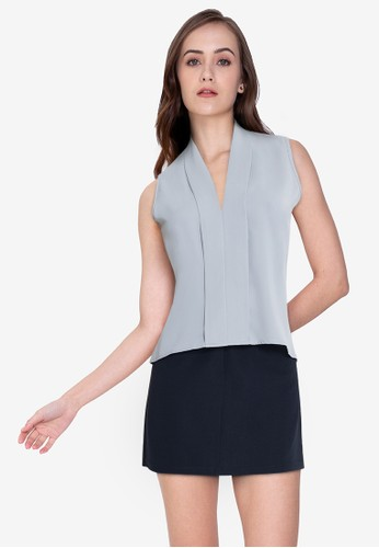 ZALORA WORK grey V Neck Pleat Front Top 96D21AA470A5BBGS_1