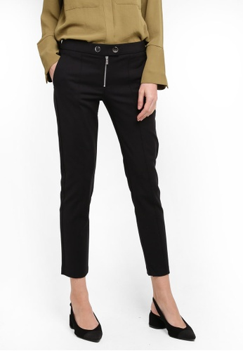 Mango black Zipped Straight Trousers MA193AA0T1DGMY_1
