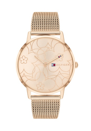 Tommy Hilfiger Watches gold Women's Ionic Plated Carnation Gold Steel Mesh Bracelet and Carnation Gold Dial Quartz Watch 03B5EACC716A36GS_1