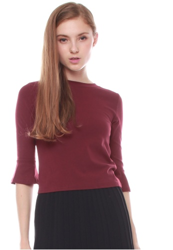 JOVET red Flare Sleeved Top 258EFAAB6C9E60GS_1